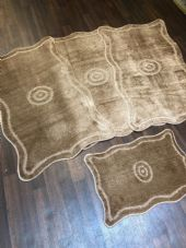 ROMANY GYPSY WASHABLES 4PC SET NON SLIP MATS 80x120CM TARGET DESIGN BEIGE RUGS